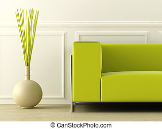Green couch in white room - Green modern style couch in...