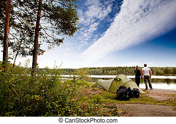 Camping by Lake - A couple camping on a lake landscape