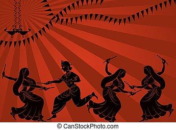 Garba Indian Dance Vector Art