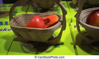 wooden handmade baskets for fruits on thai night market HD...