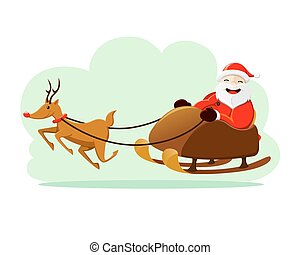 Santa Claus with snow sleigh - Vector illustration of Santa...