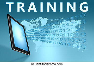Training illustration with tablet computer on blue...