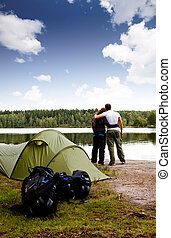 Summer Camping - A summer camping lifestyle shot with a...