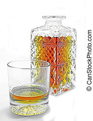 Crystal whiskey carafe - Isolated crystal whiskey glass