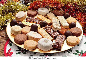 turron, polvorones and mantecados, typical christmas...