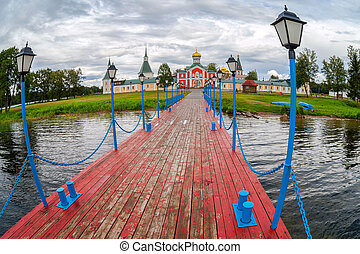 Russian orthodox church. Iversky monastery in Valday, Russia