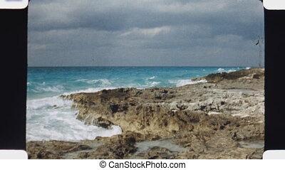 Rocky Caribbean coastline Vintage 1970s 16mm film footage...