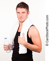 Man engaged in Fitness routine - young attractive man...