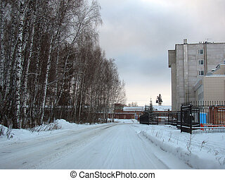 The road in the industrial zone