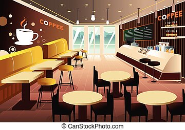 Interior of a modern coffee shop - A vector illustration of...