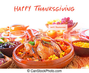 Happy Thanksgiving day, festive table setting with text...