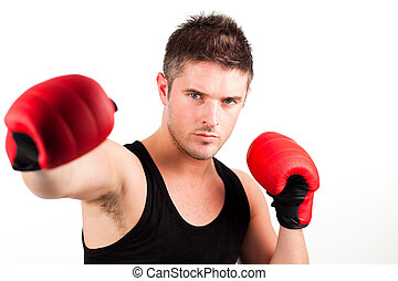 portrait of a young athletic man with boxing