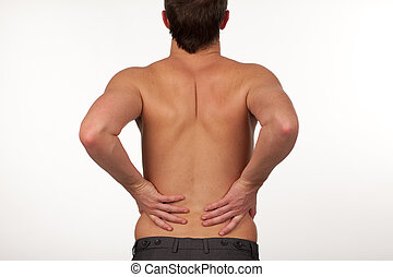 Man with backpain isolated agasint white - Young Man with...