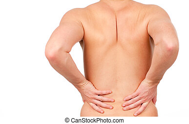 man showing that he has pain in his back isolated on white