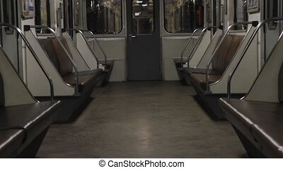 Subway, empty carriage of a train