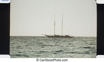 Yacht Vintage 1970s film - Yacht off the coast of Bimini...