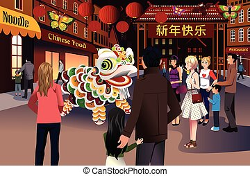 People celebrating Chinese New Year - A vector illustration...
