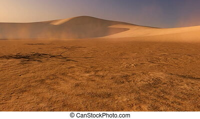 Sunset in the desert - Movement through the sand dunes at...