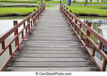 Wood bridge in park