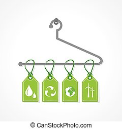 Eco icon labels hanging on a hanger