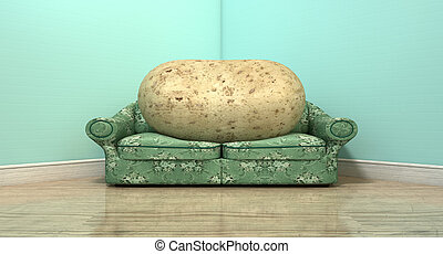 Couch Potato On Old Sofa - A literal depiction of a potato...