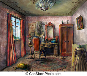 Theater dressing room - Small dressing room in a Victorian...