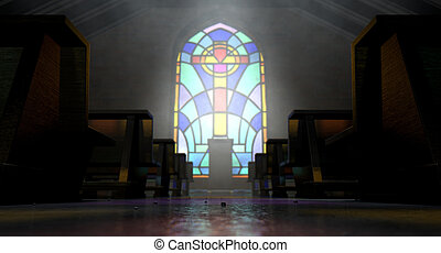Stained Glass Window Church - A dim old church interior lit...