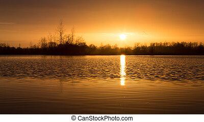 tramonto, lago