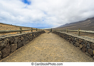 Path toward Cofete beach in Fuerteventura, Canary Islands