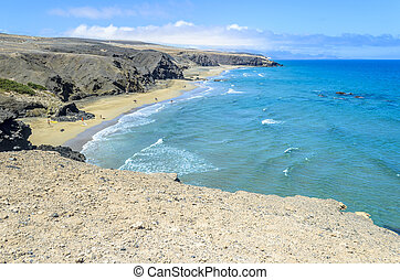 Aerial View of a Beach in Fuerteventura, Canary Islands,...