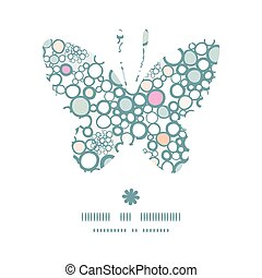 Vector colorful bubbles butterfly silhouette pattern frame...
