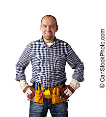 happy builder - isolated on white background, clipping path...