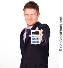 man with a calculator - Young business man with a calculator