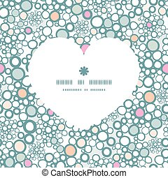 Vector colorful bubbles heart silhouette pattern frame...