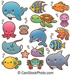 Sea animals - Vector Illustration of Sea animals Cartoon