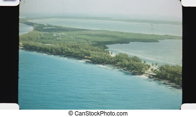 Flying over North Bimini. Bimini is the westernmost district...