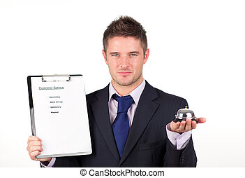 Customer service concept - Businessman exhibiting Customer...