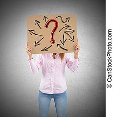 Interrogative woman - A woman unsure of her future work