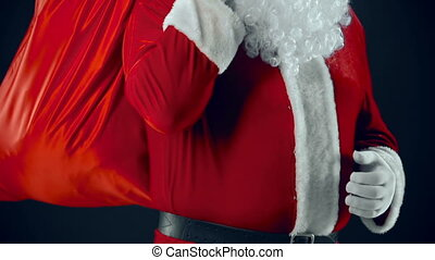 Cheerful Santa - Santa Claus with sackful of Christmas...