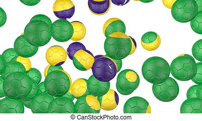 Brazil flag of soccer balls - Soccer balls is falling down...