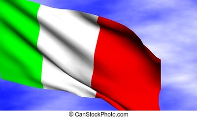 Waving Italy Flag - Waving Italy flag over sky with clouds