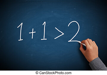 One Plus 1 is More Than Tow on blue chalkboard.