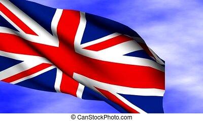 Waving Great Britain Flag - Waving Great Britain flag over...