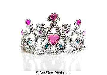 A, child\'s, toy, princess, tiara, white, background