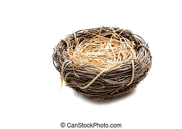 Empty Birds Nest on white background