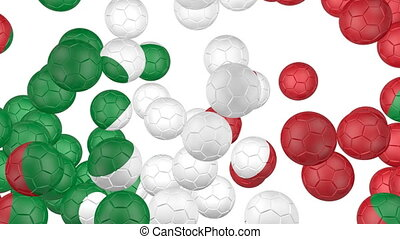 Italy flag of soccer balls - Soccer balls is falling down on...