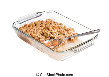 Apple Crisp - A glass tray filled with delicious apple crisp...