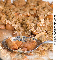 Apple Crisp Dessert - Closeup view of a dessert called apple...