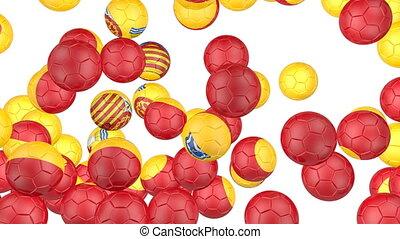 Spain flag of soccer balls - Soccer balls is falling down on...