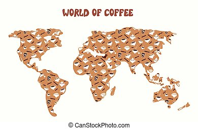 World of coffee - map and different kinds cartoon